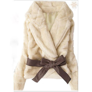 Beige Lapel Rabbit Fur Imitation Coat With Belt