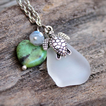 Sea Turtle Jewelry from Hawaii - Sea Glass Necklace - Hawaiian Jewelry Hawaiian Honu Necklace - Boho Seaglass Jewelry - Sea Turtle Necklace