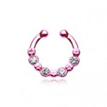 Colorline Elan Multi-Gem Fake Septum Clip-On Ring