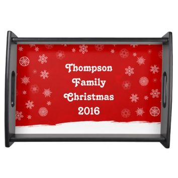 Snowflakes Holiday Design with a Red Background Serving Tray