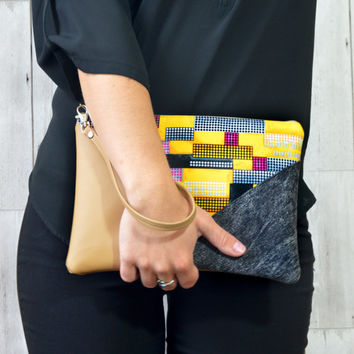 Geometric clutch leather wristlet clutch, Evening clutch envelope purse, Black clutch, vegan clutch, Colorful modern clutch, Fabric clutch