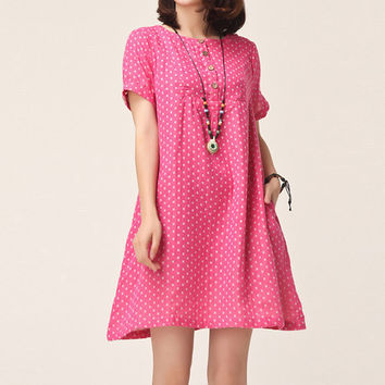 Polka Dots Linen Cotton Pink A-line Dress