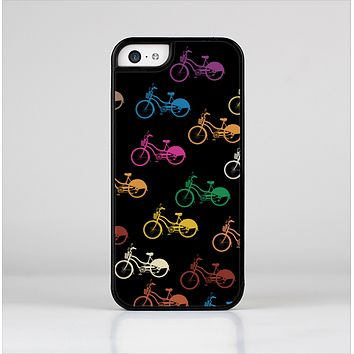 The Colored Vintage Bike Pattern On Black Skin-Sert for the Apple iPhone 5c Skin-Sert Case