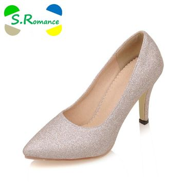 S.Romance Plus Size 34-43 Women Pumps Fashion Elegant Pointed Toe Spike Heel Office Lady Woman Shoes Gold Silver Purple SH430