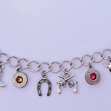 Bullet jewelry. Country western themed charm bracelet with bullet casings