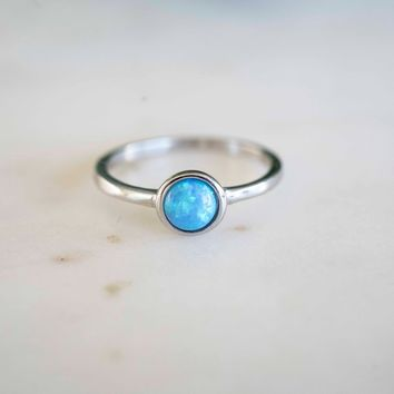 Blue Opal Ring | Sterling Silver Opal Ring | Blue Stone Ring | Silver Opal Ring | Dainty Opal Ring | Cute Opal Ring | Gift for Her