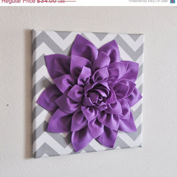 "MOTHERS DAY SALE Wall Decor -Lavender Dahlia on Gray and White Chevron 12 x12"" Canvas Wall Art- Baby Nursery Wall Decor-"