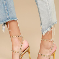 Oleanna Gold Studded Ankle Strap Heels