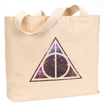"Deathly Hallows Galaxy, nebula, space Canvas Jumbo Tote Bag 18""w x 11""h"