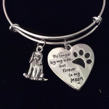 Dog Memorial Bracelet Forever in My Heart Expandable Charm Bangle Silver Adjustable Pet Memory Gift