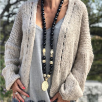 Explosive Solid Color Loose Sweater Casual Sweater Jacket
