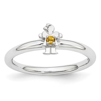 Rhodium Plated Sterling Silver Stackable Citrine 7mm Girl Ring