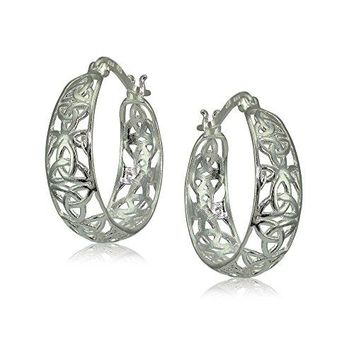 Sterling Silver High Polished Celtic Knot Filigree Hoop Earrings