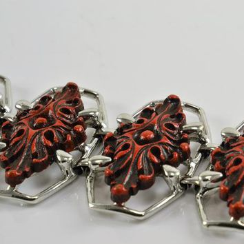Selini Selro Bracelet Signed Wide Cinnabar Colored Cabochons on Silver Tone Mid Century Designer Costume Jewelry Hard To Find Asian Inspired