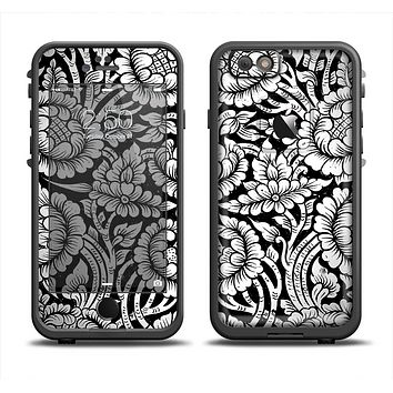 The Black & White Mirrored Floral Pattern V2 Apple iPhone 6 LifeProof Fre Case Skin Set