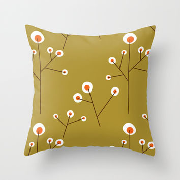 Retro Green Pattern Design Throw Pillow by All Is One