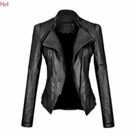 Woman Leather Coats Short Zipper Motorcycle Jacket Black Euro Outwear Turn-down Collar Motorcycle Coat Punk Jacket SV008972