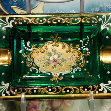 Venetian Murano Ashtray Ash Tray Bohemian Style Italy 1960s Gold Gilt Enameled Flowers Floral Venetian Emerald Green Art Glass Mid Century