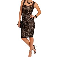 Black/Nude Lace Sleeveless Dress