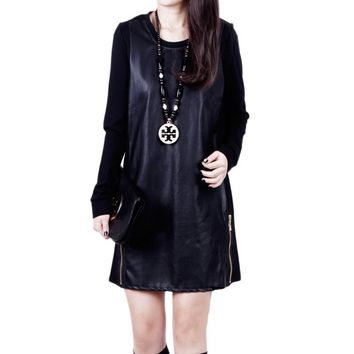 Mini Casual Pu Leather New Fashion long-sleeved  Patchwork design Female dress Plus Size M-XXXL Black Color