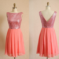 Coral Bridesmaid Dress For Women - Short A-line Bridesmaid Dresses / Coral Prom Dress / Cheap Party Dress