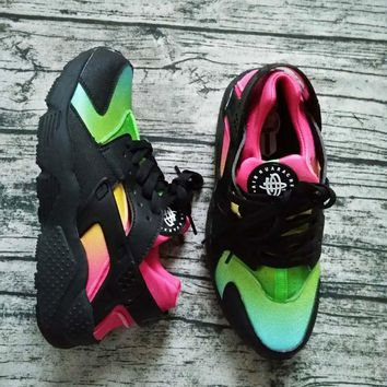 New Nike Air Huarache Women Men Running Shoes Rainbow Ultra Breathe Shoes Multicolor Sneakers Air Size 36-46-1