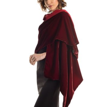 Sophia-Silk Velvet Shawl lined with Silk Crepe-Ruby Red