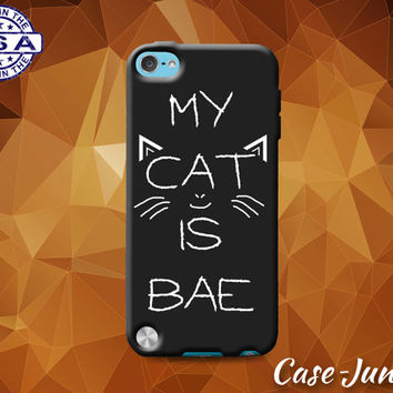 My Cat Is Bae Funny Quote Kitty Whiskers Tumblr Inspired Custom Case For iPod Tough 4th Generation Gen And iPod Touch 5th Generation Gen