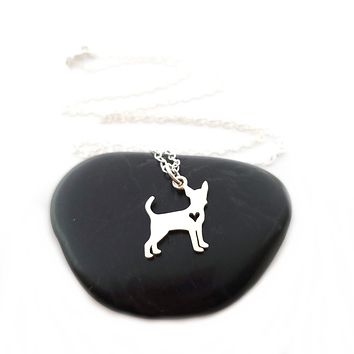 Chihuahua with Cutout Heart Necklace - Sterling Silver Jewelry