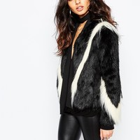 Unreal Fur Fringe Black and White Arrows Jacket in Black and white