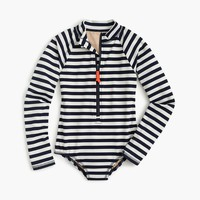 Girls' long-sleeve one-piece swimsuit in sailor stripes