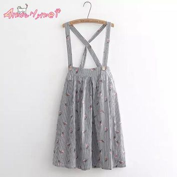 Amourlymei  2017 Summer New Women Striped Floral Print Cute Strap Skirt Japanese style Mori Girl lolita Skirt