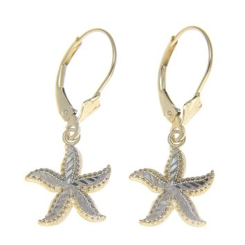 14K YELLOW GOLD WHITE GOLD DIAMOND CUT HAWAIIAN STARFISH LEVERBACK EARRINGS 12MM