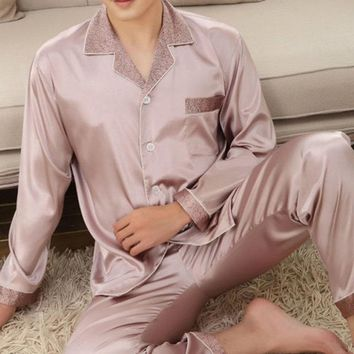 Plus Size Faux Silk Chest Pocket Pajamas Sets