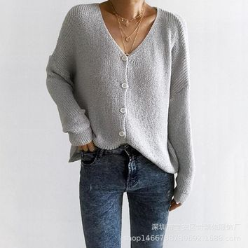 V-neck Buttons Loose Cardigan Women Sweater