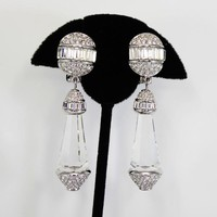 Large Swarovski Dangling Crystals  Earrings with Baguette & Chaton Clear Rhinestones and Clip ons Signed with Swan Logo 1980s 1990s Modern