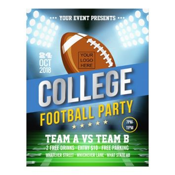 College Football Party change color and add logo Flyer
