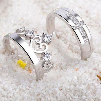 CREYD5W Sterling silver couple rings fashion crown diamond ring