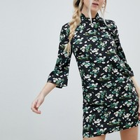 Influence Shift Dress With Mandarin Collar Detail In Daisy Garden Floral at asos.com