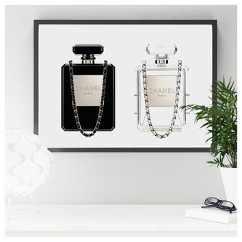 Chanel perfume bottle clutch. Printable Chanel perfume. Minimalist artwork. Fashion printable poster. Fashion artwork.