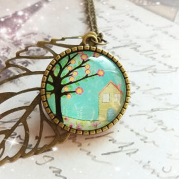 Glass dome pendant, Tree of life pendant necklace, Blue Glass Cabochon, Bohemian jewelry, Gift for her, Cameo necklace, Women gift