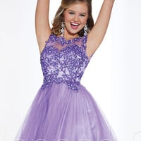 Sheer High Neckline Short Prom Dress Hannah S 27845