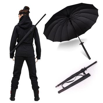 Stylish Black Japanese Samurai Ninja Sword Katana Umbrella Sunny & Rainny Long-handle Umbrellas Semi-automatic 8, 16 or 24 Ribs