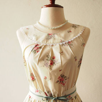 Tea Party - Off White Dress Floral Rustic Wedding Dress Vintage Inspired Design White Floral Sundress Summer Dress Bridesmaid Dress