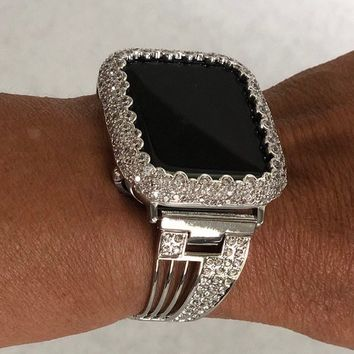 Apple Watch Band 18k White Gold Finish Case Cover Silver Bezel 38mm 40mm 42mm 44mm Women Lab Diamond Rhinestone Crystal CZ Champagne Bubbles