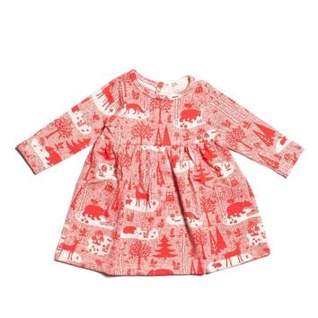 Winter Forest Red Baby Dress