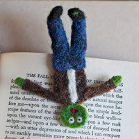 Squished Zombie Bookmark, Needle Felted OOAK Comical Gift