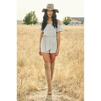 Perfectly Imperfect Off The Shoulder Romper (Heather Grey)