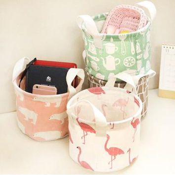 Cotton Linen Home Storage Box Clothes Organizer Folding Desk Flamingo Organizer
