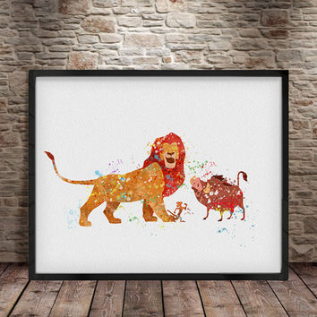 Disney Lion King Art Print, Disney Watercolor Poster Print, Wall Decor, Lion King Watercolor Painting, Kids Watercolor Nursery Art Decor -a8